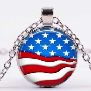 Necklace- NEW-  USA American Flag